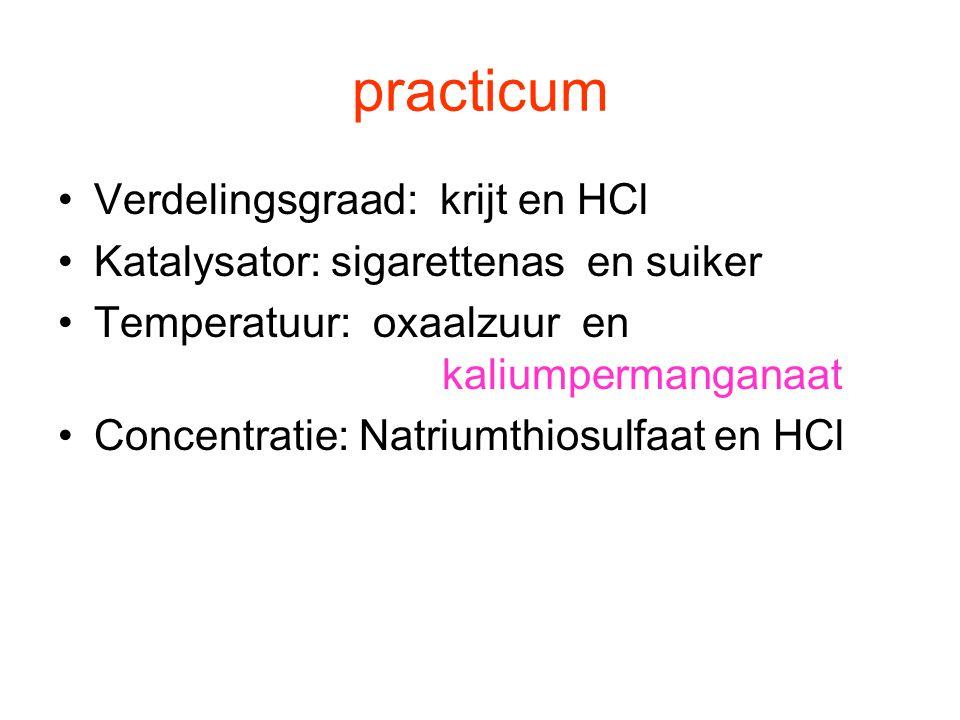 practicum Verdelingsgraad: krijt en HCl Katalysator: sigarettenas en suiker Temperatuur: oxaalzuur en kaliumpermanganaat Concentratie: Natriumthiosulf