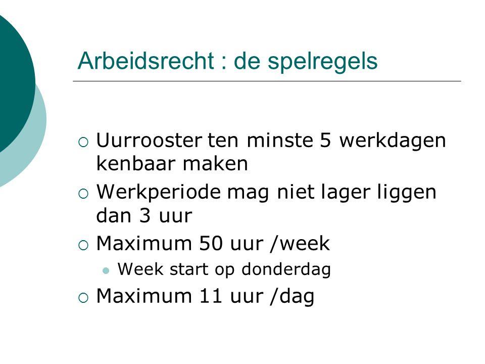 Arbeidsrecht : de spelregels  Uurrooster ten minste 5 werkdagen kenbaar maken  Werkperiode mag niet lager liggen dan 3 uur  Maximum 50 uur /week We