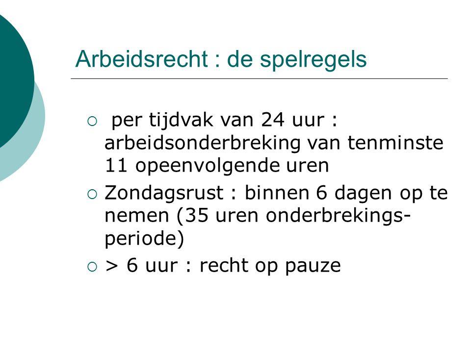 Arbeidsrecht : de spelregels  per tijdvak van 24 uur : arbeidsonderbreking van tenminste 11 opeenvolgende uren  Zondagsrust : binnen 6 dagen op te n