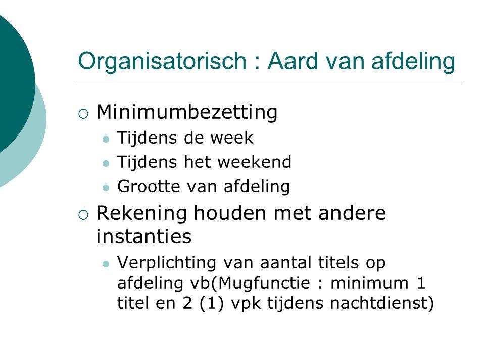Organisatorisch : Aard van afdeling  Minimumbezetting Tijdens de week Tijdens het weekend Grootte van afdeling  Rekening houden met andere instantie