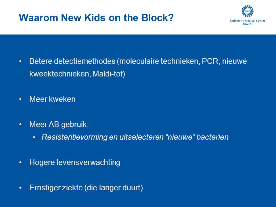 Waarom New Kids on the Block? Betere detectiemethodes (moleculaire technieken, PCR, nieuwe kweektechnieken, Maldi-tof) Meer kweken Meer AB gebruik: Re
