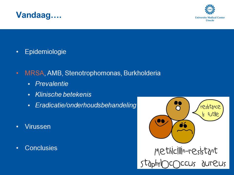 Vandaag…. Epidemiologie MRSA, AMB, Stenotrophomonas, Burkholderia Prevalentie Klinische betekenis Eradicatie/onderhoudsbehandeling Virussen Conclusies