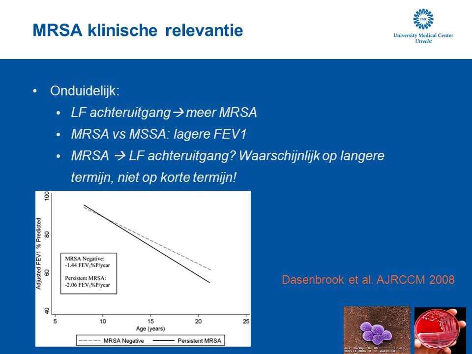 MRSA klinische relevantie Onduidelijk: LF achteruitgang  meer MRSA MRSA vs MSSA: lagere FEV1 MRSA  LF achteruitgang? Waarschijnlijk op langere termi