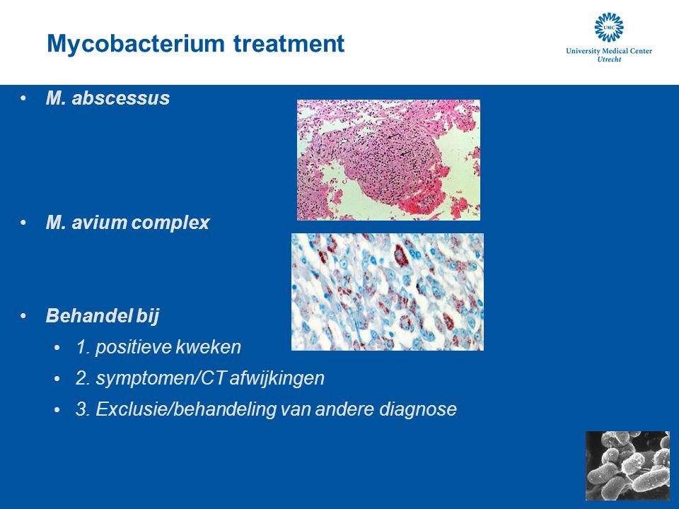 Mycobacterium treatment M. abscessus M. avium complex Behandel bij 1. positieve kweken 2. symptomen/CT afwijkingen 3. Exclusie/behandeling van andere