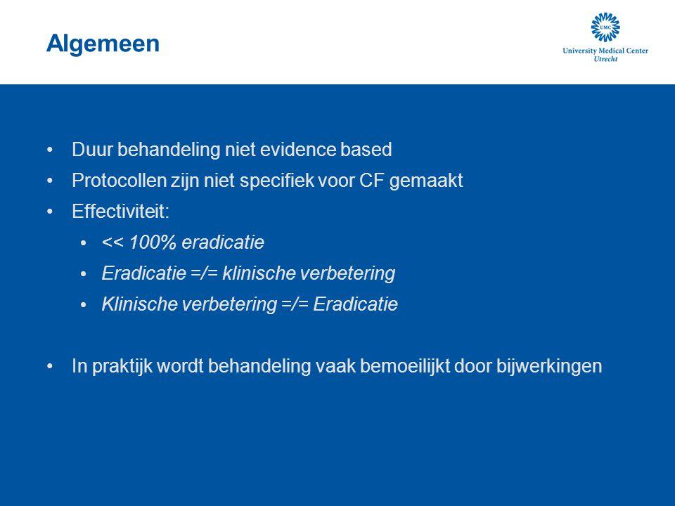 Algemeen Duur behandeling niet evidence based Protocollen zijn niet specifiek voor CF gemaakt Effectiviteit: << 100% eradicatie Eradicatie =/= klinisc