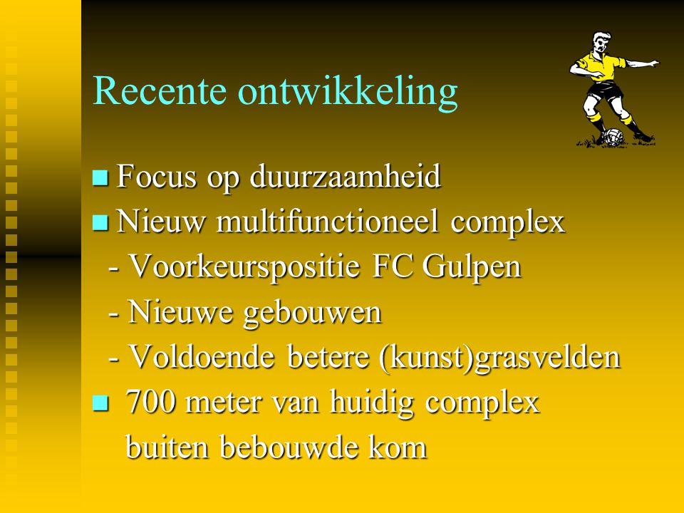 Recente ontwikkeling Focus op duurzaamheid Focus op duurzaamheid Nieuw multifunctioneel complex Nieuw multifunctioneel complex - Voorkeurspositie FC G