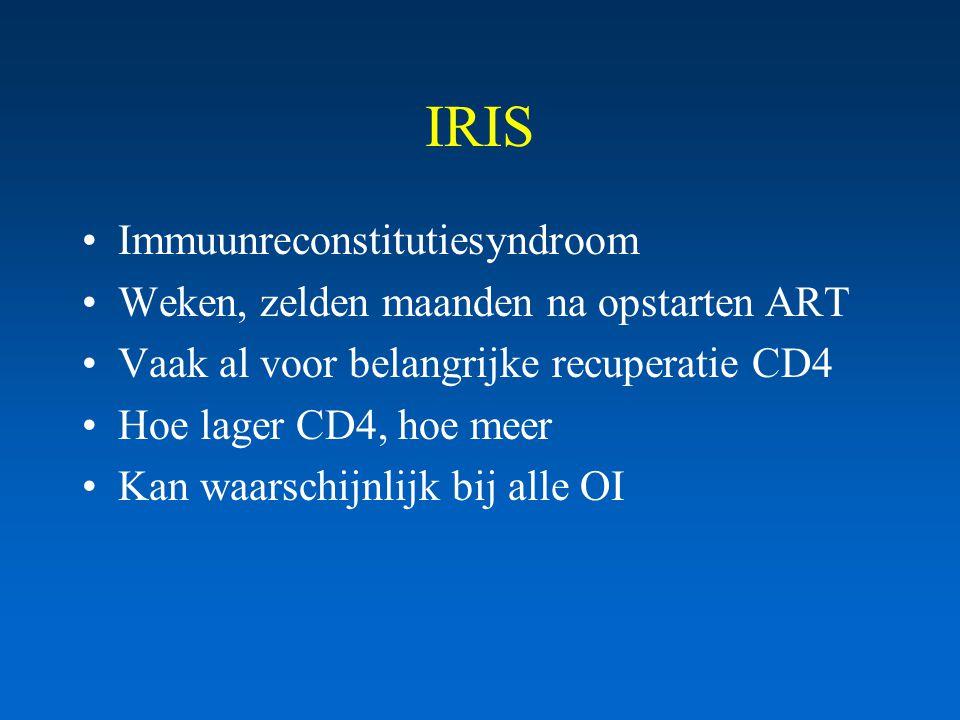 IRIS Immuunreconstitutiesyndroom Weken, zelden maanden na opstarten ART Vaak al voor belangrijke recuperatie CD4 Hoe lager CD4, hoe meer Kan waarschijnlijk bij alle OI