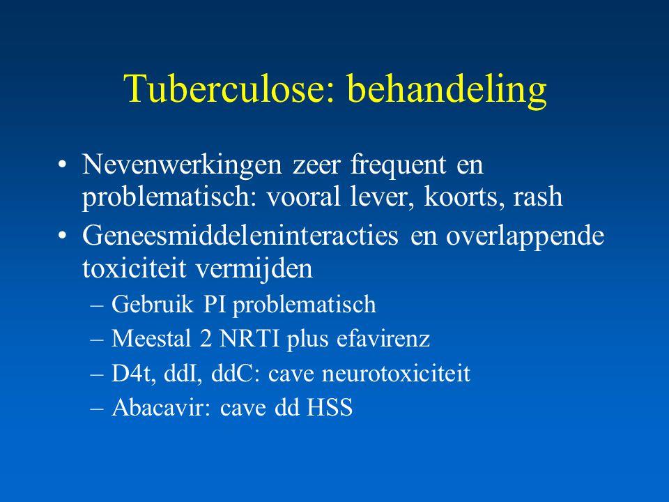 Tuberculose: behandeling Nevenwerkingen zeer frequent en problematisch: vooral lever, koorts, rash Geneesmiddeleninteracties en overlappende toxiciteit vermijden –Gebruik PI problematisch –Meestal 2 NRTI plus efavirenz –D4t, ddI, ddC: cave neurotoxiciteit –Abacavir: cave dd HSS