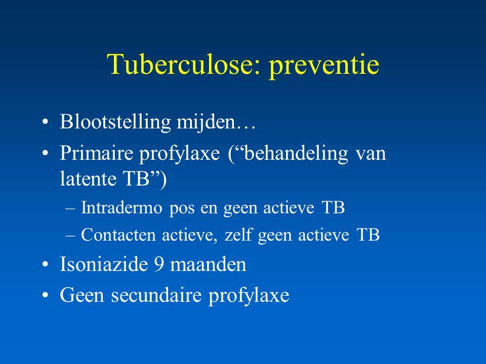 Tuberculose: preventie Blootstelling mijden… Primaire profylaxe ( behandeling van latente TB ) –Intradermo pos en geen actieve TB –Contacten actieve, zelf geen actieve TB Isoniazide 9 maanden Geen secundaire profylaxe