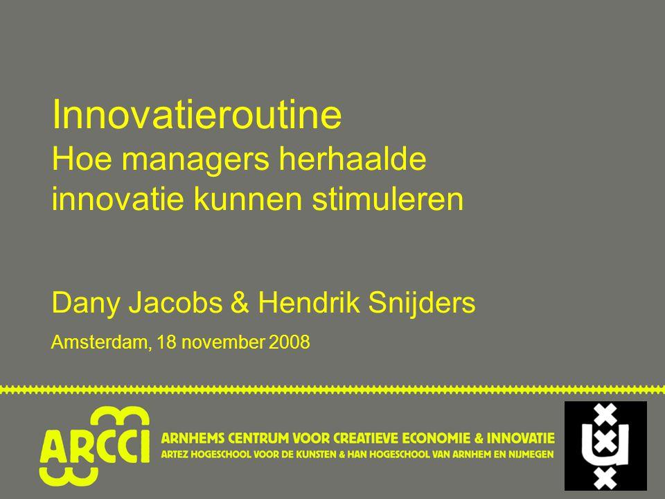 Innovatieroutine Hoe managers herhaalde innovatie kunnen stimuleren Dany Jacobs & Hendrik Snijders Amsterdam, 18 november 2008