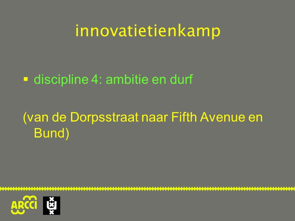 innovatietienkamp  discipline 4: ambitie en durf (van de Dorpsstraat naar Fifth Avenue en Bund)