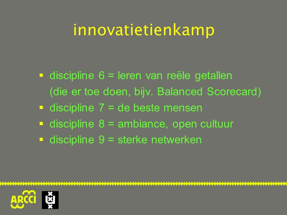  discipline 6 = leren van reële getallen (die er toe doen, bijv. Balanced Scorecard)  discipline 7 = de beste mensen  discipline 8 = ambiance, open