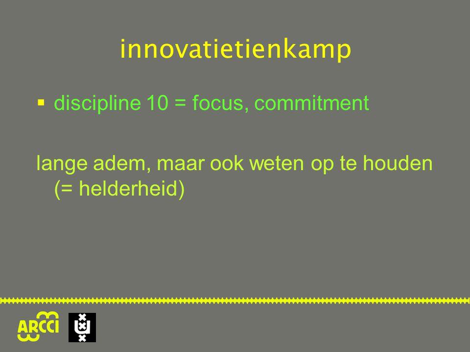  discipline 10 = focus, commitment lange adem, maar ook weten op te houden (= helderheid)