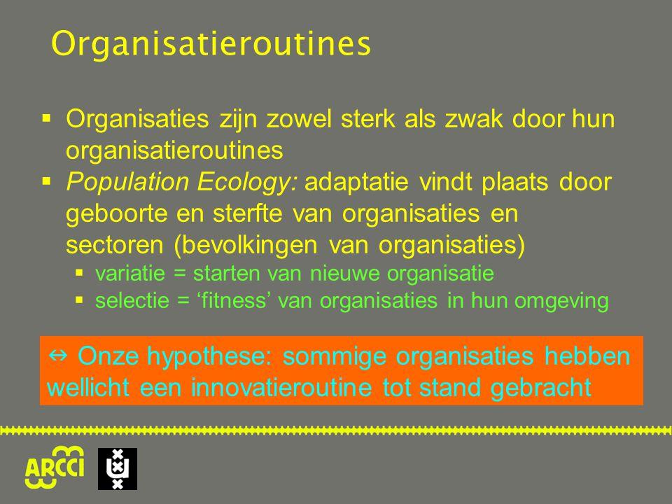 Organisatieroutines  Organisaties zijn zowel sterk als zwak door hun organisatieroutines  Population Ecology: adaptatie vindt plaats door geboorte en sterfte van organisaties en sectoren (bevolkingen van organisaties)  variatie = starten van nieuwe organisatie  selectie = 'fitness' van organisaties in hun omgeving Onze hypothese: sommige organisaties hebben wellicht een innovatieroutine tot stand gebracht
