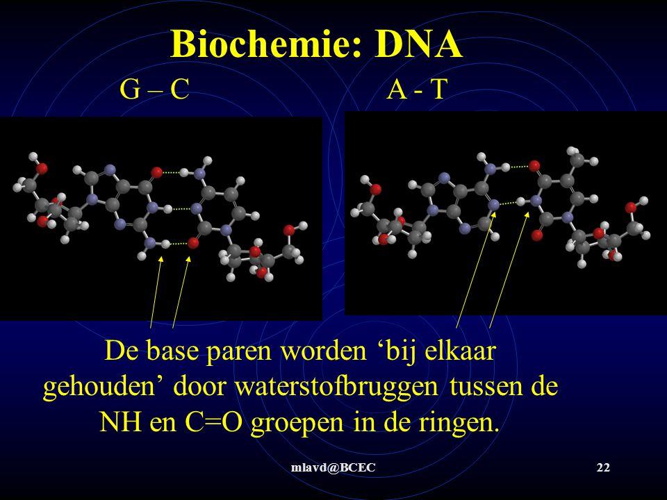 mlavd@BCEC22 Biochemie: DNA G – C A - T De base paren worden 'bij elkaar gehouden' door waterstofbruggen tussen de NH en C=O groepen in de ringen.