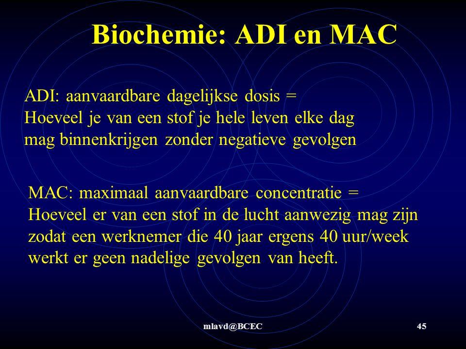 mlavd@BCEC45 Biochemie: ADI en MAC ADI: aanvaardbare dagelijkse dosis = Hoeveel je van een stof je hele leven elke dag mag binnenkrijgen zonder negati