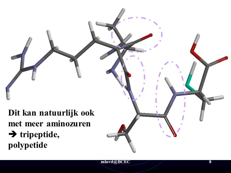 mlavd@BCEC8 Biochemie algemeen -Aminozuren/Eiwitten: pr/sec/tert/quat structuur Primaire structuur: volgorde van aminozuren Ala-Arg-Ser-Cys Dit kan na