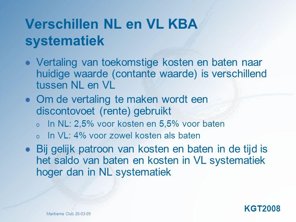 Maritieme Club 26-03-09 Verschillen NL en VL KBA systematiek Vertaling van toekomstige kosten en baten naar huidige waarde (contante waarde) is versch