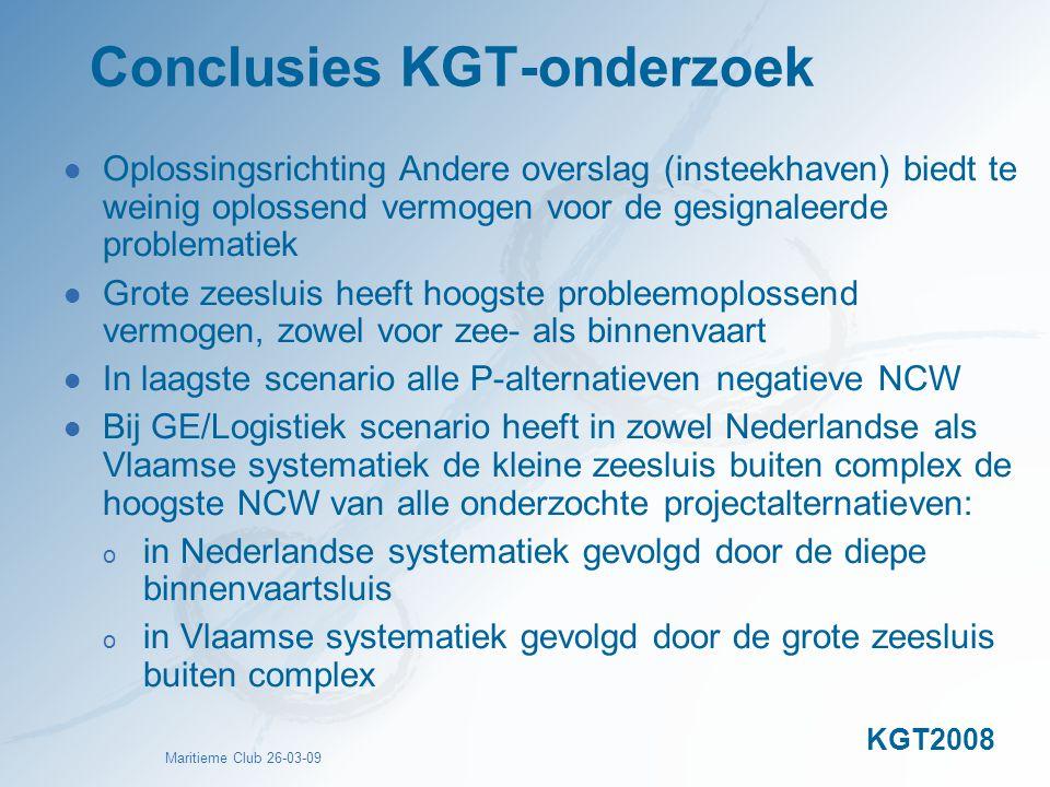 Maritieme Club 26-03-09 Conclusies KGT-onderzoek Oplossingsrichting Andere overslag (insteekhaven) biedt te weinig oplossend vermogen voor de gesignal