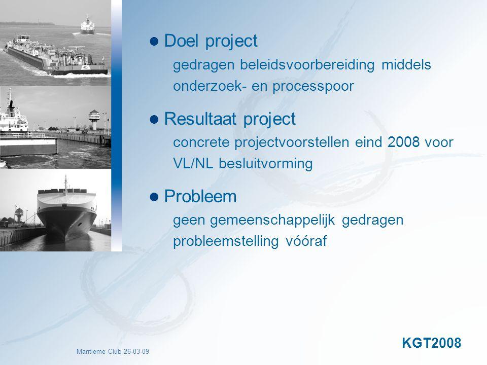 Maritieme Club 26-03-09 Doel project gedragen beleidsvoorbereiding middels onderzoek- en processpoor Resultaat project concrete projectvoorstellen ein