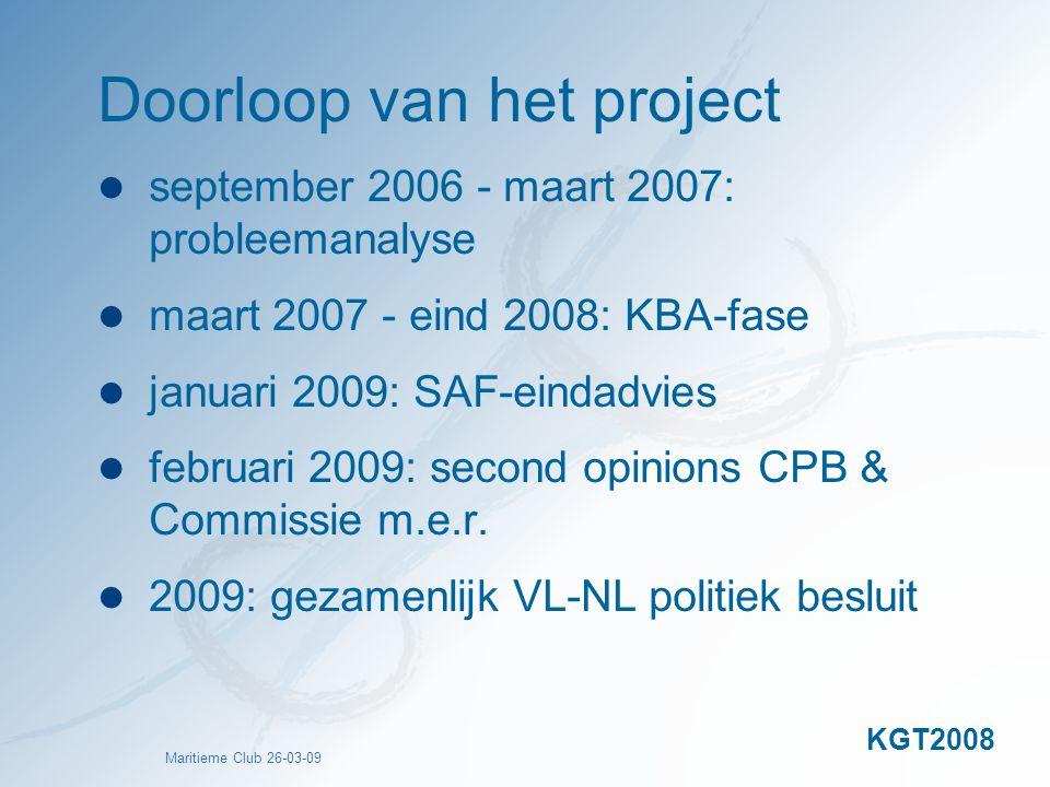 Maritieme Club 26-03-09 Doorloop van het project september 2006 - maart 2007: probleemanalyse maart 2007 - eind 2008: KBA-fase januari 2009: SAF-einda