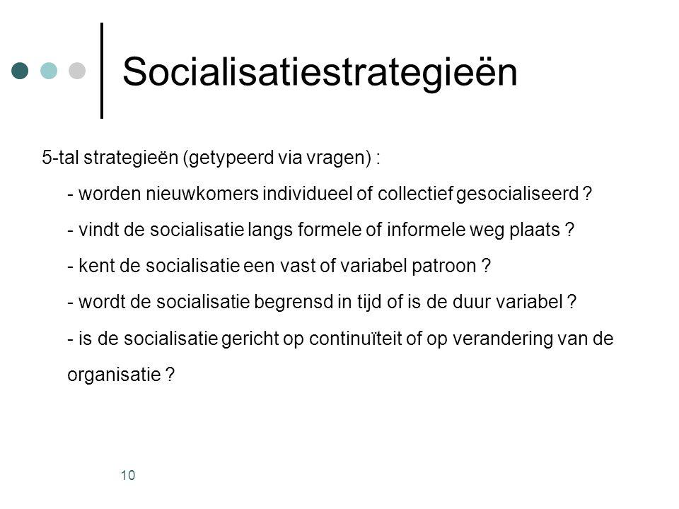 10 Socialisatiestrategieën 5-tal strategieën (getypeerd via vragen) : - worden nieuwkomers individueel of collectief gesocialiseerd ? - vindt de socia