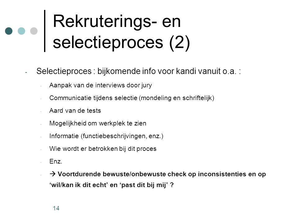14 Rekruterings- en selectieproces (2) - Selectieproces : bijkomende info voor kandi vanuit o.a. : - Aanpak van de interviews door jury - Communicatie