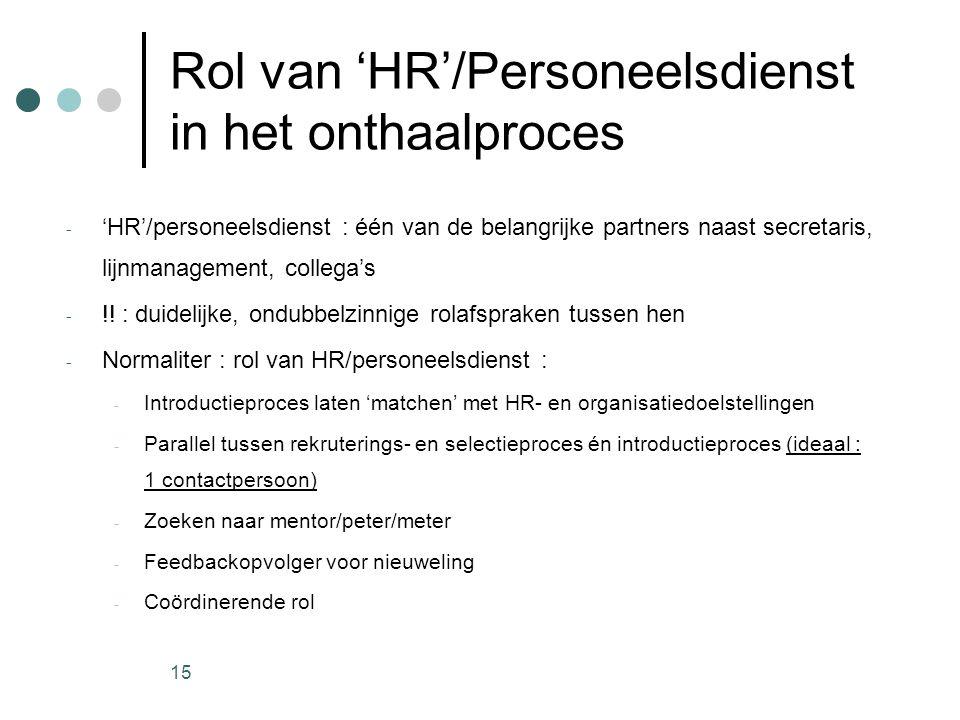 15 Rol van 'HR'/Personeelsdienst in het onthaalproces - 'HR'/personeelsdienst : één van de belangrijke partners naast secretaris, lijnmanagement, coll