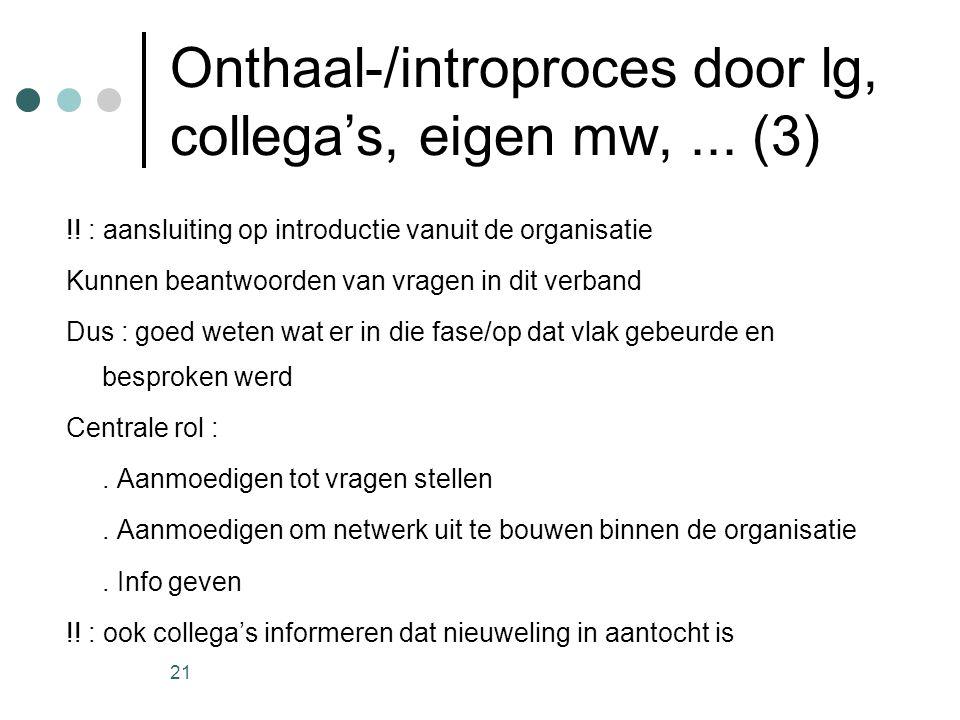 21 Onthaal-/introproces door lg, collega's, eigen mw,... (3) !! : aansluiting op introductie vanuit de organisatie Kunnen beantwoorden van vragen in d