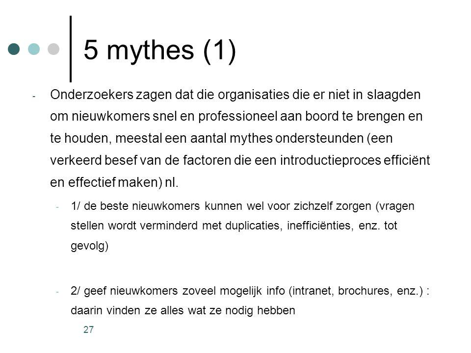 27 5 mythes (1) - Onderzoekers zagen dat die organisaties die er niet in slaagden om nieuwkomers snel en professioneel aan boord te brengen en te houd