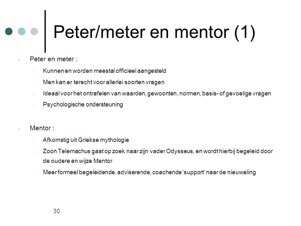 30 Peter/meter en mentor (1) - Peter en meter : - Kunnen en worden meestal officieel aangesteld - Men kan er terecht voor allerlei soorten vragen - Id