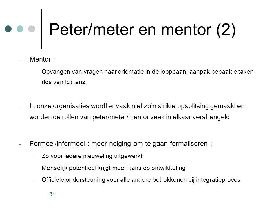 31 Peter/meter en mentor (2) - Mentor : - Opvangen van vragen naar oriëntatie in de loopbaan, aanpak bepaalde taken (los van lg), enz. - In onze organ