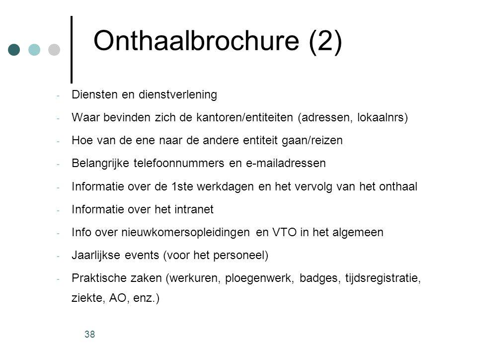 38 Onthaalbrochure (2) - Diensten en dienstverlening - Waar bevinden zich de kantoren/entiteiten (adressen, lokaalnrs) - Hoe van de ene naar de andere