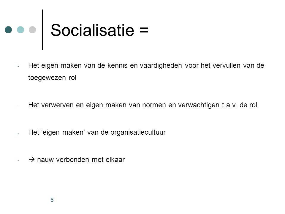 6 Socialisatie = - Het eigen maken van de kennis en vaardigheden voor het vervullen van de toegewezen rol - Het verwerven en eigen maken van normen en