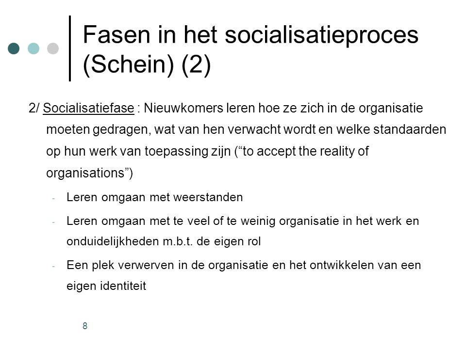 8 Fasen in het socialisatieproces (Schein) (2) 2/ Socialisatiefase : Nieuwkomers leren hoe ze zich in de organisatie moeten gedragen, wat van hen verw