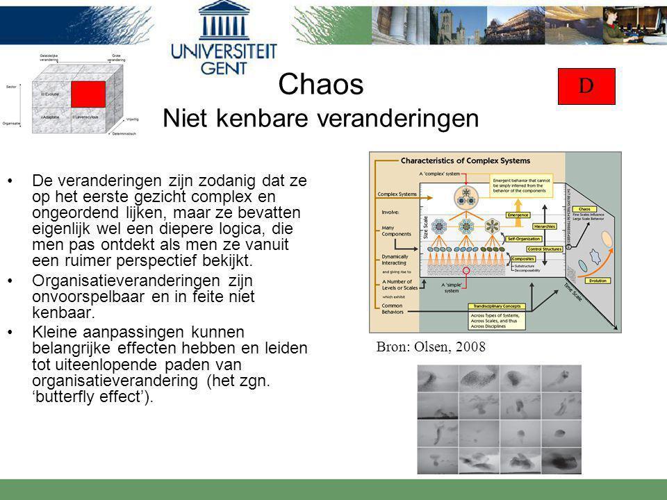 Chaos Niet kenbare veranderingen De veranderingen zijn zodanig dat ze op het eerste gezicht complex en ongeordend lijken, maar ze bevatten eigenlijk wel een diepere logica, die men pas ontdekt als men ze vanuit een ruimer perspectief bekijkt.