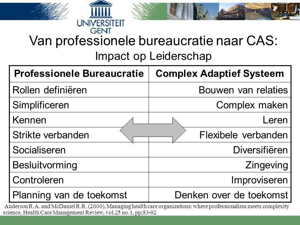Professionele BureaucratieComplex Adaptief Systeem Rollen definiërenBouwen van relaties SimplificerenComplex maken Kennen Leren Strikte verbandenFlexibele verbanden SocialiserenDiversifiëren BesluitvormingZingeving ControlerenImproviseren Planning van de toekomstDenken over de toekomst Anderson R.A.