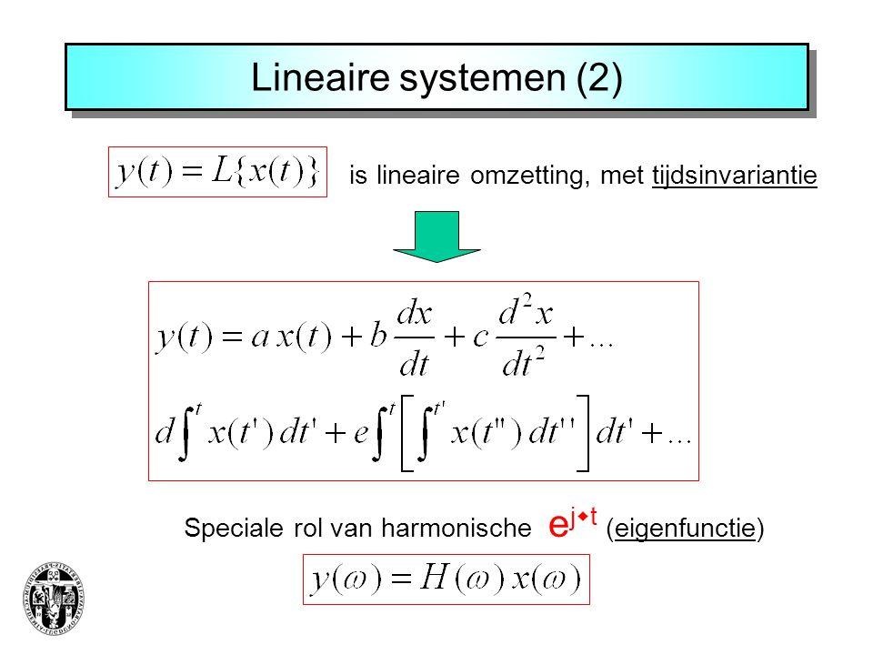 Lineaire systemen (2) is lineaire omzetting, met tijdsinvariantie Speciale rol van harmonische e j  t (eigenfunctie)