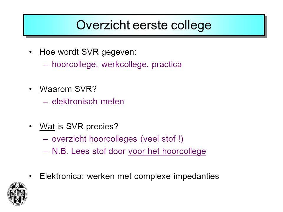 Overzicht eerste college Hoe wordt SVR gegeven: –hoorcollege, werkcollege, practica Waarom SVR.