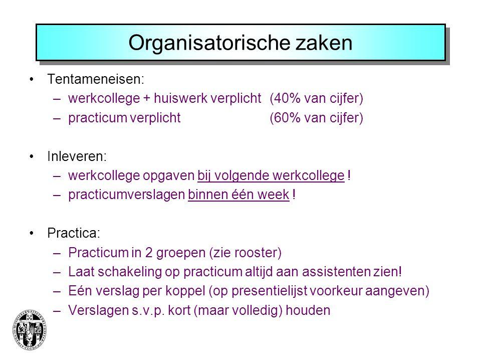 Organisatorische zaken Tentameneisen: –werkcollege + huiswerk verplicht (40% van cijfer) –practicum verplicht (60% van cijfer) Inleveren: –werkcollege opgaven bij volgende werkcollege .