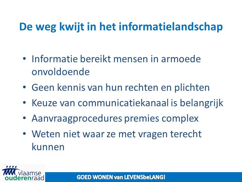 De weg kwijt in het informatielandschap Informatie bereikt mensen in armoede onvoldoende Geen kennis van hun rechten en plichten Keuze van communicati