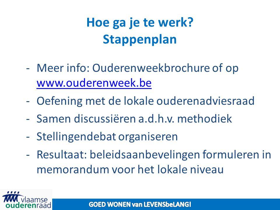 Hoe ga je te werk? Stappenplan -Meer info: Ouderenweekbrochure of op www.ouderenweek.be www.ouderenweek.be -Oefening met de lokale ouderenadviesraad -