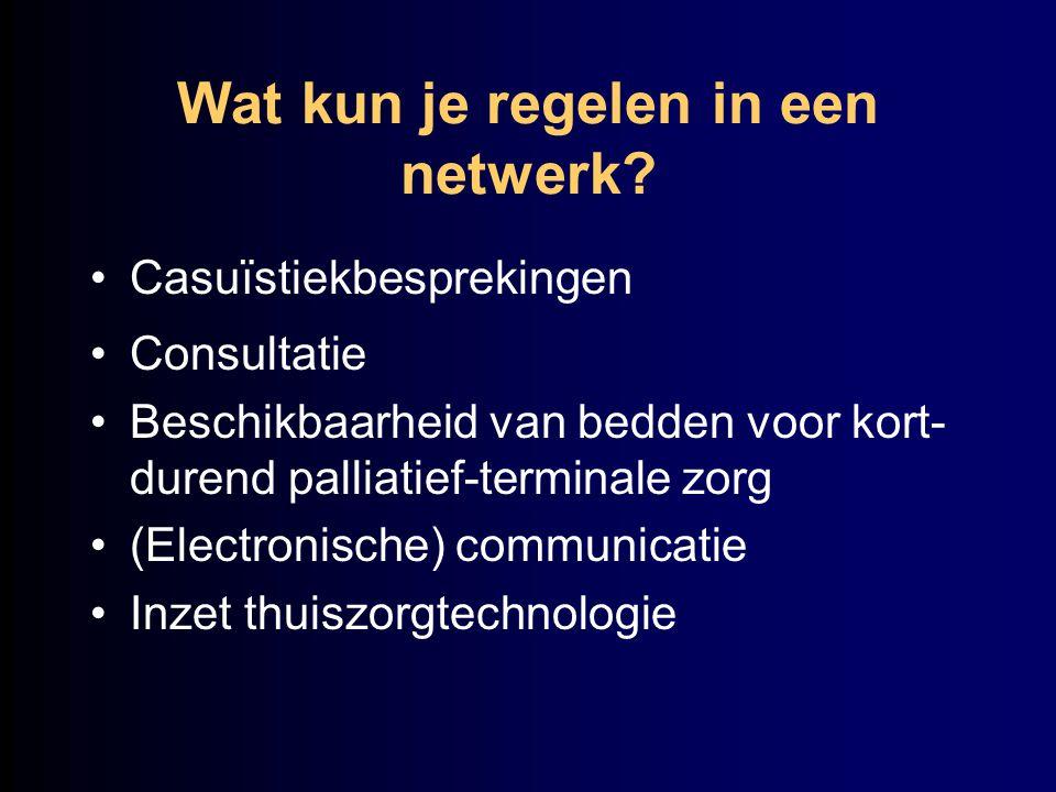Wat kun je regelen in een netwerk? Casuïstiekbesprekingen Consultatie Beschikbaarheid van bedden voor kort- durend palliatief-terminale zorg (Electron
