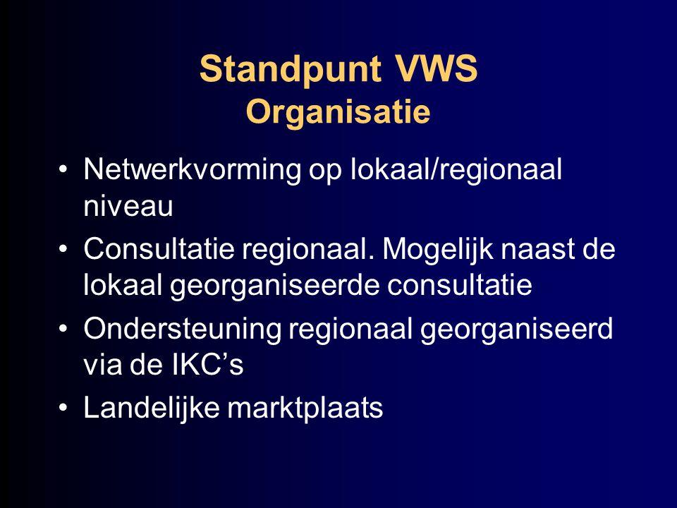 Standpunt VWS Organisatie Netwerkvorming op lokaal/regionaal niveau Consultatie regionaal. Mogelijk naast de lokaal georganiseerde consultatie Onderst