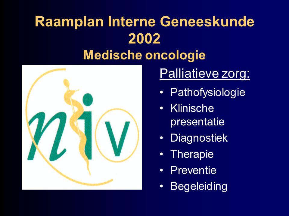 Raamplan Interne Geneeskunde 2002 Medische oncologie Palliatieve zorg: Pathofysiologie Klinische presentatie Diagnostiek Therapie Preventie Begeleidin