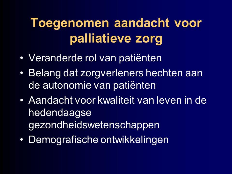 Toegenomen aandacht voor palliatieve zorg Veranderde rol van patiënten Belang dat zorgverleners hechten aan de autonomie van patiënten Aandacht voor k
