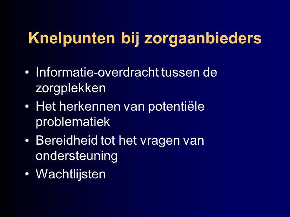 Knelpunten bij zorgaanbieders Informatie-overdracht tussen de zorgplekken Het herkennen van potentiële problematiek Bereidheid tot het vragen van onde