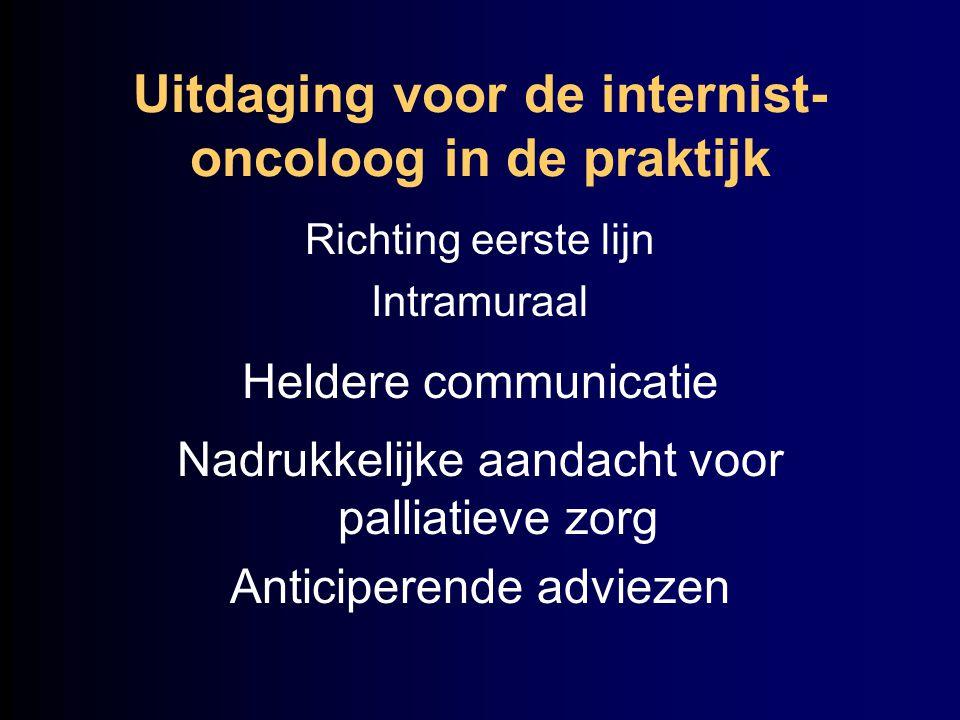 Uitdaging voor de internist- oncoloog in de praktijk Richting eerste lijn Intramuraal Heldere communicatie Nadrukkelijke aandacht voor palliatieve zor