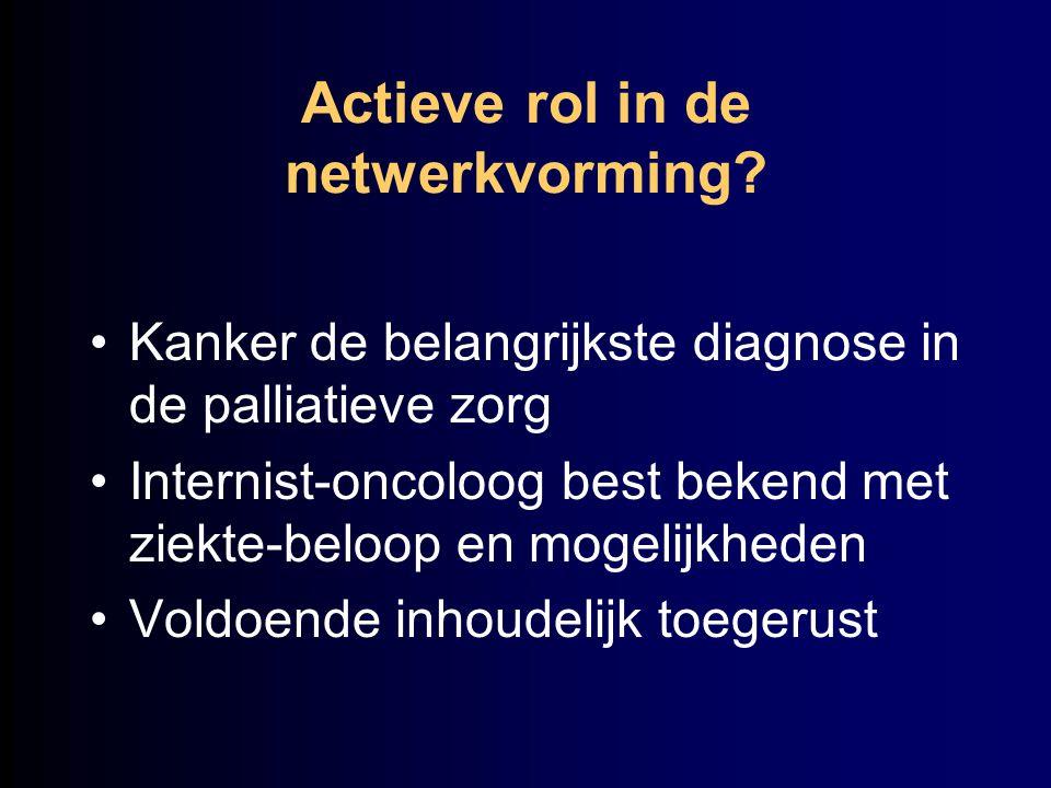 Actieve rol in de netwerkvorming? Kanker de belangrijkste diagnose in de palliatieve zorg Internist-oncoloog best bekend met ziekte-beloop en mogelijk