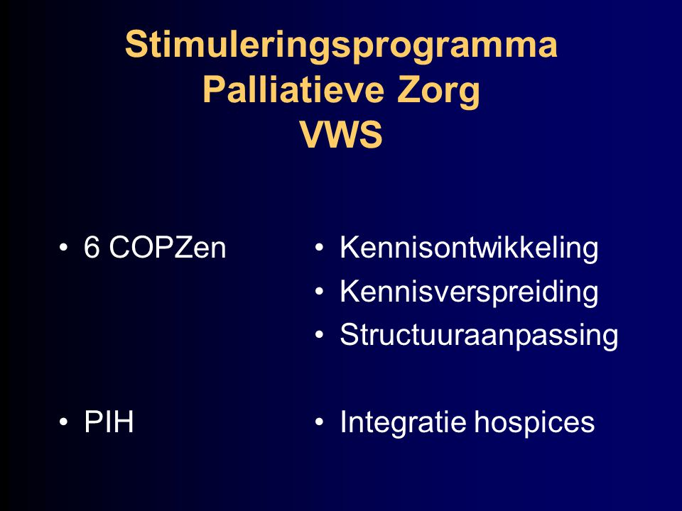 Stimuleringsprogramma Palliatieve Zorg VWS 6 COPZen PIH Kennisontwikkeling Kennisverspreiding Structuuraanpassing Integratie hospices